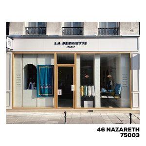 Vitrine en cours. Courez-y.  46 rue Notre-Dame-de-Nazareth 75003 Paris du mardi au samedi de 11h à 19h. A tout de suite 😉 #laservietteparis #homedecor #homelinen #decointerieure #decorationinterieure #lingedemaison  #lingedebain #lingedelit  #serviettedeplage #lisere #boutique #46nazareth #75003